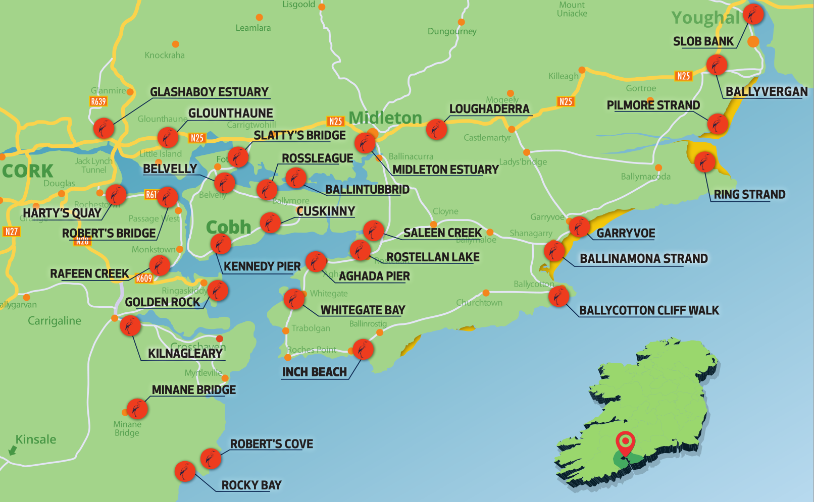 Map Of East Cork Beaches